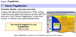 Promotional blurb from the PageBuilder page in 2006, with a handy warning that it can take up to 3-5 minutes to load on a 28k modem