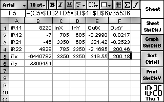 Spreadsheet calculating the touchscreen values