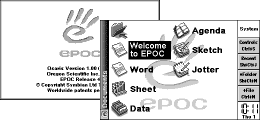 EPOC running on an emulated Osaris device